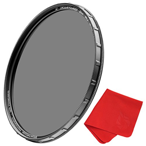 62mm X2 CPL Circular Polarizing Filter for Camera Lenses - AGC Optical Glass Polarizer Filter with Lens Cloth - MRC8 - Nanotec Coatings - Weather Sealed by Breakthrough Photography