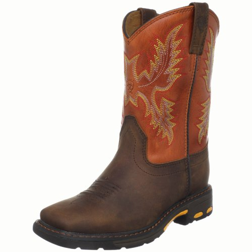 Kids' Workhog Wide Square Toe Western Cowboy Boot, Dark Earth/Brick, 13.5 M US Little Kid