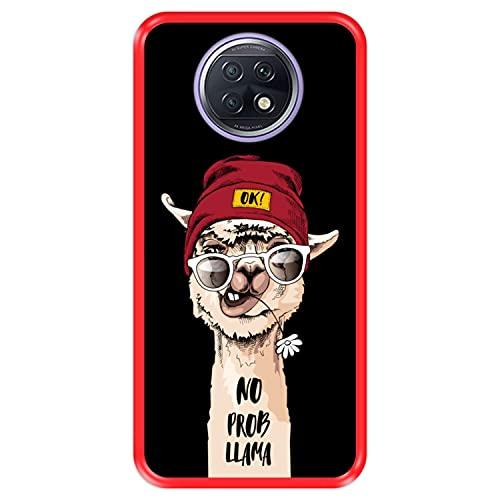 Hapdey Funda Roja para [ Xiaomi Redmi Note 9T ] diseño [ Llama Divertida, No Prob Llama ] Carcasa Silicona Flexible TPU
