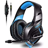 Unicview Cascos Gaming K1 (2020) para PS4, PC, Xbox One, Switch Auriculares con Conector 3.5mm con LED Diadema adjustables con Micrófono y Control de Volumen, Cancelación de Ruido