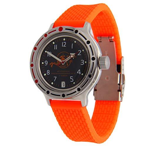 Vostok Amphibian #420380 Scuba Dude Reloj de pulsera automático de buceo, color rojo
