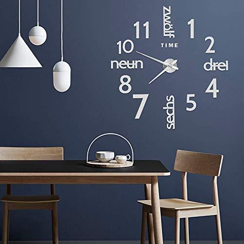 Reloj de pared decorativo para el hogar Espejo adhesivo de superficie Reloj silencioso Sin tictac Estilo simple moderno Cocina Sala de estar Tatuajes de pared Oficina en casa Aula Reloj escolar(Plata)