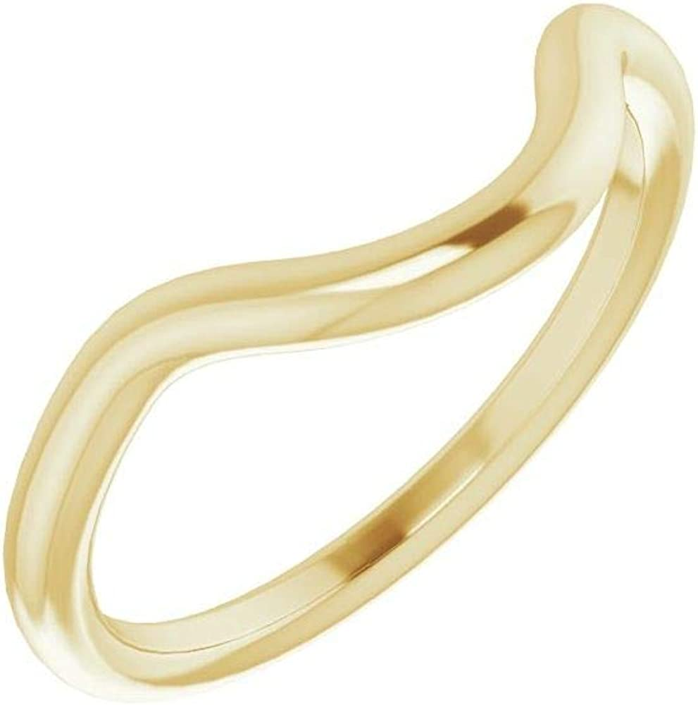 Solid 18K Yellow Gold Curved Notched Wedding Band for 8.2mm Round Ring Guard Enhancer - Size 7