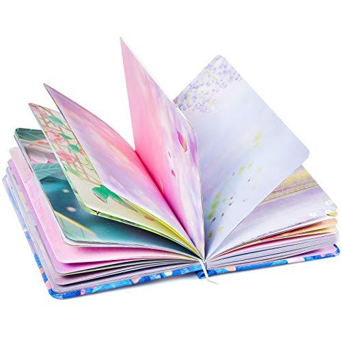 2021 PU-Leder buntes leeres Schreibtagebuch für Frauen, Hardcover-Notizbücher Tagebuch, schönes Tagebuch, Kunst-Skizzenbuch, Geschenk für Frauen Mädchen, 258 Seiten ( tiefblau & Mond )