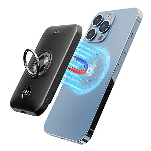 iWALK Magnetische Kabellose Powerbank, 6000mAh Tragbares Ladegerät mit Fingerhalter, Stärkerer Magnetsticker für Handy mit einzigartiger Mag-Suction-Technologie, Kompatibel mit iPhone 12/12 Pro Max