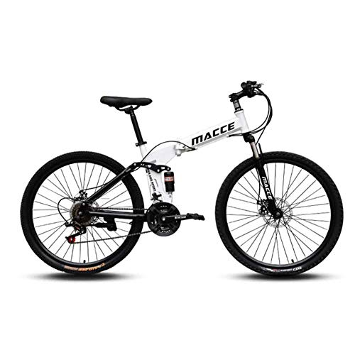 LOISK Bicicleta de montaña Plegable, 26 velocidades Variable Todoterreno Doble amortiguación Doble Disco Frenos Bicicleta para Hombres Montar al Aire Libre,Blanco,24 Speed