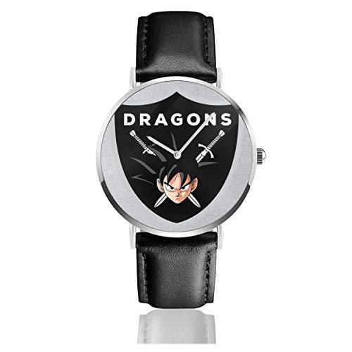 Dragon Ball Z Goku Drachenschild Uhren Quarz Lederuhr mit schwarzem Lederband für Sammlung Geschenk