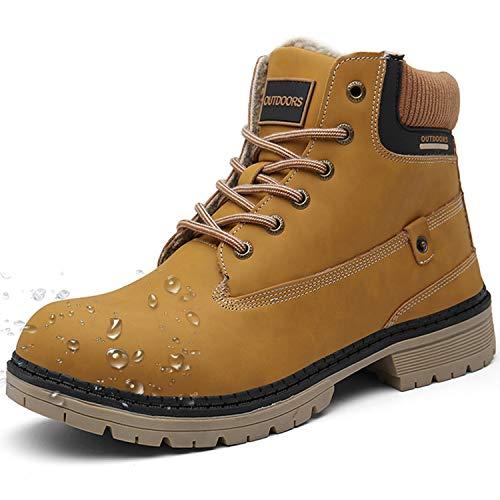 Botas de Nieve Hombre Mujer Cálido Botines Planas Invierno Impermeables Zapatos Senderismo Zapatillas Deportes Confortables Sneakers, Marrón, 42 EU