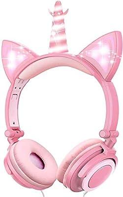 VERORAS Unicorn Kids Headphones, Glowing Unicorn Cat Ear LED Headphones for Children On/Over Ear, Wired Adjustable Foldable Headset, 85dB Volume Limited (Pink petal unicorn) from VERORAS