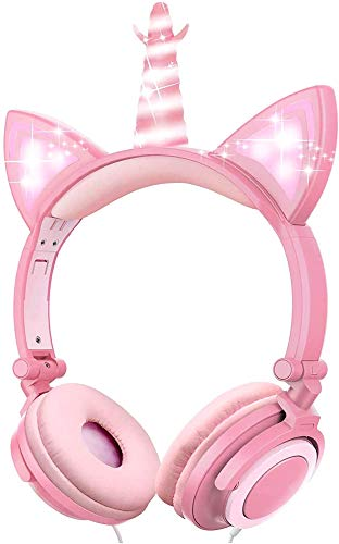 MONTIHOLD Einhorn Kinder Kopfhörer, Leuchtende Katze Ohr LED-Kopfhörer am/über dem Ohr, Wired, Adjustable, Faltbares, 85dB Volume Limited (Rosa Blütenblatt Einhorn)