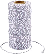 G2PLUS 100 M Licht Paars en Wit Craft Bakkers Twine 2 MM Katoen Tuin Draad Duurzaam Tie String Spool voor DIY Ambachten en...
