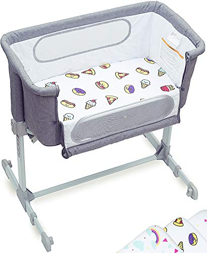 Bedside Bassinet for Baby - Arm's Reach Safe Sleeper for Baby - Portable Bed – Includes 3 Cotton Jersey Knit Fitted Crib Sheets for Standard Toddler Mattresses – Lovely Designs for Boys and Girls