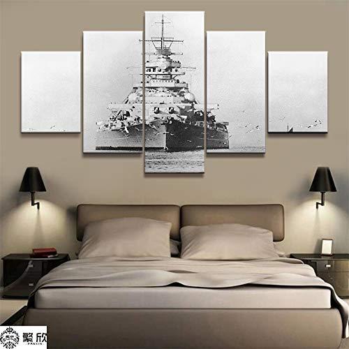 AMOHart Leinwanddrucke 5 Stück Schlachtschiff Bismarck Naval Militär Malerei Wohnzimmer Wandkunst Home Decor Artwork Poster Drucke auf Leinwand Rahmen