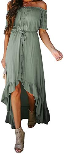 Happy Sailed Womens Off Shoulder Solid Maxi Dress Ruffle Party High Low Beach Maxi Dresses with product image