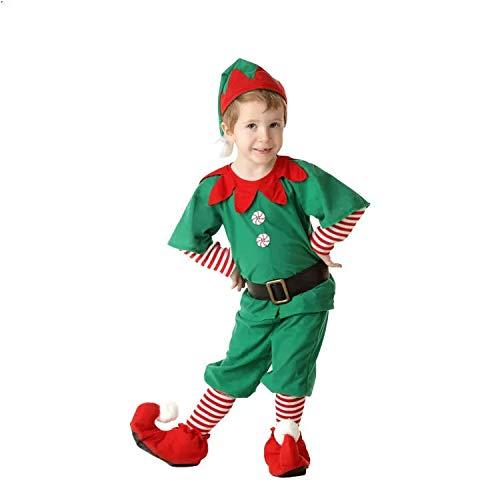 Disfraz de Duende de Navidad para Hombres, Mujeres y niños Navidad, Carnaval y Cosplay (120cm, Hombres)