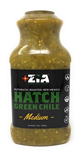 Original New Mexico Hatch Green Chile By Zia Green Chile Company - Delicious Flame-Roasted, Peeled & Diced Southwestern Certified Green Peppers For Salsas, Stews & More, Vegan & Gluten-Free - 128oz