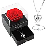 DanLink Geschenke für Frauen, Handgefertigte Echte Ewige Rose mit Halskette und Armband Geschenkbox, Rosen Geschenke für Valentinstag, Jahrestag, Geburtstags für Mutter, Schwester, Freundin, Hochzeit