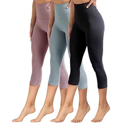 YOLIX High Waisted Capri Leggings for Women Tummy Control Soft Opaque Slim Tights for Cycling, Running, Yoga-Reg & Plus Size