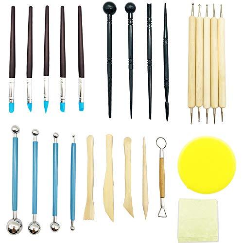ENGESTON Polymer Clay Ton Werkzeug Set, 30 Skulptur Modellieren Punktierung Werkzeuge, Einschließlich Ball Stift, Caly Tools, Gummistifte, Griffel, Schwamm und Wischtuch für Skulpturkeramik(Blau)