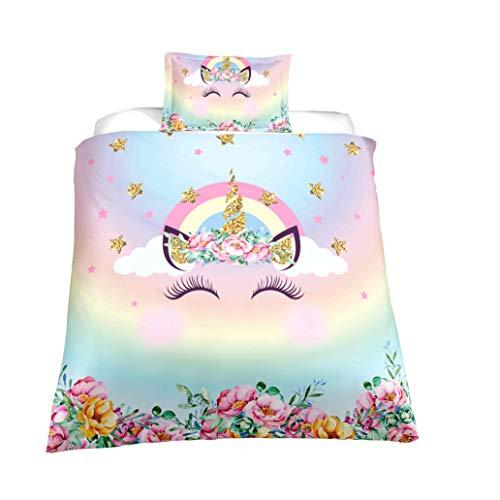 Unicorn Duvet Cover Sets,Lovely Face Unicorn Bedding Sets,Twin Size,1 Duvet Cover,1 Pillowcase(No Comforter Inside)