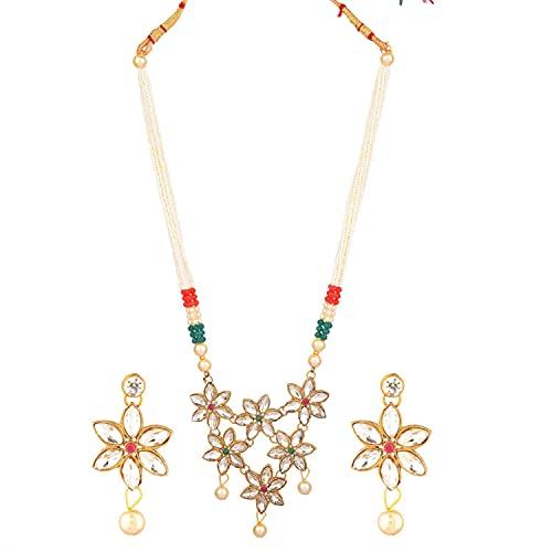Efulgenz Joyería india con colgante floral de cristal de perlas de imitación y collar de perlas de imitación para mujer, Metal,