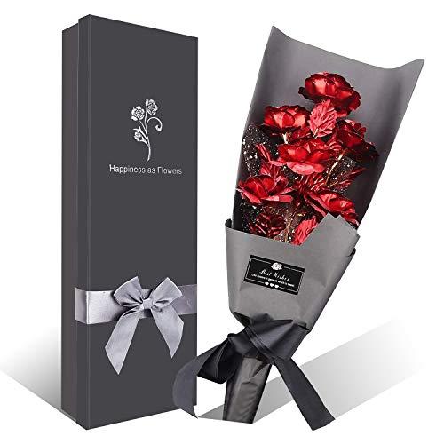 Bouquet Fleurs Rose Plaqué Or, 6 pièces Bouquet de Roses artificielles Feuille dor avec boîte-Cadeau, pour la Saint-Valentin, fête des mères, Anniversaire, Anniversaire, Noël, Décoration (Rouge)