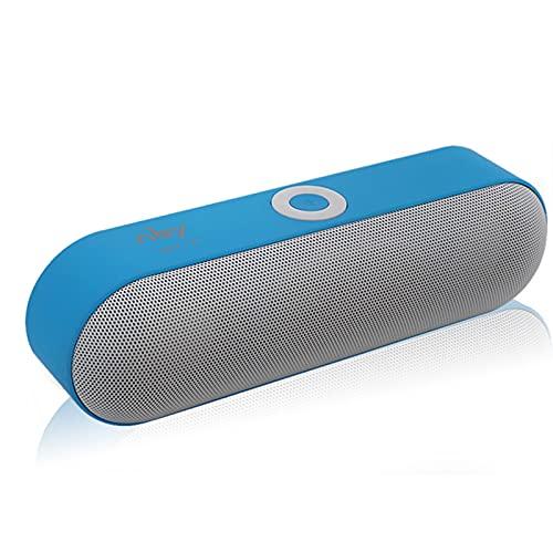 IYUNDUN Altavoz Bluetooth Inalámbrico Portátil, Altavoz Subwoofer De Dos Altavoces, Sistema De Sonido Estéreo 3D, para Viajes, Exteriores, Hogar Y Fiestas (Color : Blue)
