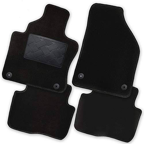 Bär-AfC MB07440n Exklusiv Auto Fußmatten Velours Schwarz, Rand Kettelung Schwarz, Trittschutz Kunststoff, Set 5-teilig, Passgenau für Modell Siehe Details