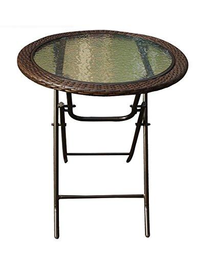 Table Ronde Extérieure Jardin Balcon Loisirs Table Pliante Table de Repas Rattan Imitation