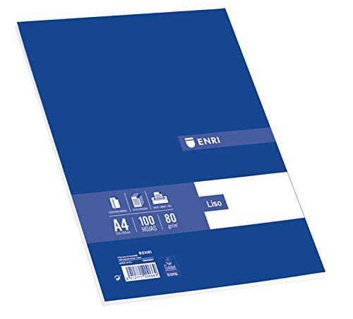 Enri - Folios A4, Recambio 100 Hojas Blancas Lisas, 80 gr 🔥