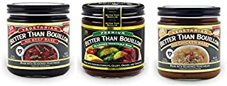 Better than Bouillon Vegetarian No Beef Base, No Chicken Base, Premium Seasoned Vegetable Base, 8 oz Jars (Variety 3 Pack)