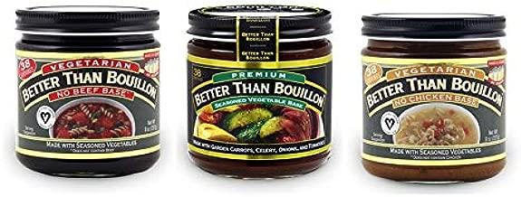 Better than Bouillon Vegetarian No Beef Base, No Chicken Base, Premium Seasoned Vegetable Base, 8 oz Jars (Variety 3 Pack)
