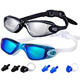 ALLPAIPAI Swim Goggles | Swimming Goggles | Pack of 2 No Leaking Anti Fog UV Protection Triathlon with Nose Clips + Ear...