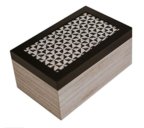 Bathroom Flushable Wipes Dispenser Decorative Wooden (MDF) Box Container to Conceal Diaper or Flushable Wipes 19cm x 12cm x 9cm Beige and Black