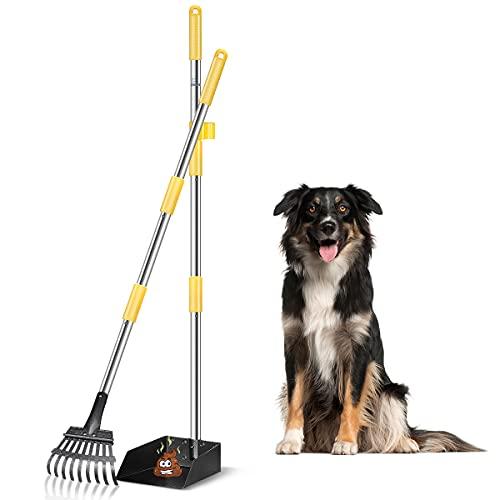 FOCUSPET Dog Pooper Scooper, Poop Scooper for Dogs Upgraded Adjustable Long Handle Metal Pet Poop...