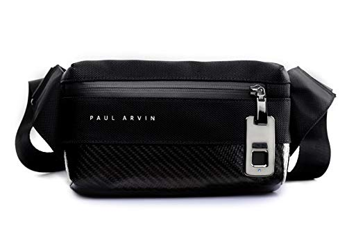 PAUL ARVIN Bandolera con apertura de huella digital, negro Collection. PARA QUE SOLO TU Y 9 PERSONAS QUE TU QUIERAS PUEDAN ABRIRLO.