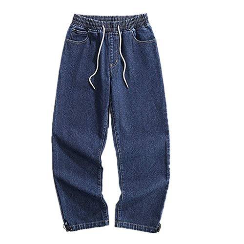 NOBRAND Pantalones vaqueros de pierna ancha para hombre, grandes y rectos, elásticos Azul 1 XXXXL