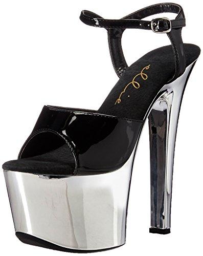 Ellie Shoes Women's 711-chrome Platform Sandal, Black, 9 M US