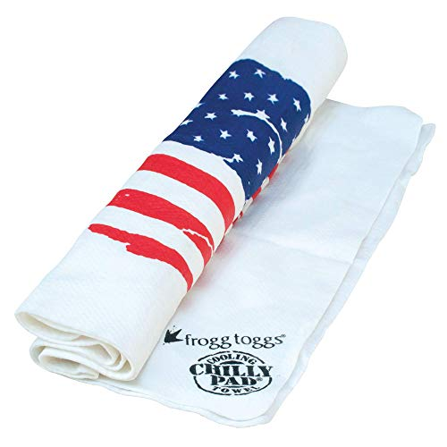 Frogg Toggs Chilly Pad Cooling Towel, White with US Flag, Size 33