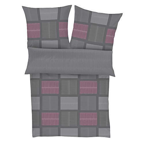 BUGATTI Feinflanell Bettwäsche 135x200 cm - Biberbettwäsche grau 100% Baumwolle, 2 TLG. Set aus Deckenbezug 135x200cm und Kissenhülle 80x80cm, praktischer Reißverschluss