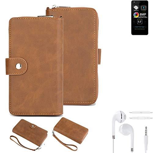 K-S-Trade® Handy-Schutz-Hülle Für -Allview A9 Lite- + Kopfhörer Portemonnee Tasche Wallet-Case Bookstyle-Etui Braun (1x)