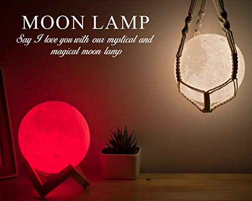 Sennal Products Moon Lamp - 3D Printed LED Lunar Light - Decorative Night Globe with Wood Stand & Cotton Hanger - Remote & Touch Control - Dimmable, 16 Glowing Colors, Long Battery Life - 5.9-Inch