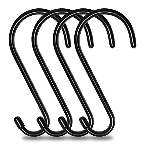 4 Pack 6 Inch S Hooks, Large Vinyl Rubber Coated Closet S Hooks, Non Slip Heavy Duty Steel Metal S Shaped Hanger Hook for Hanging Plants, Lights, Pots, Cups, Jeans, Towels, Hats