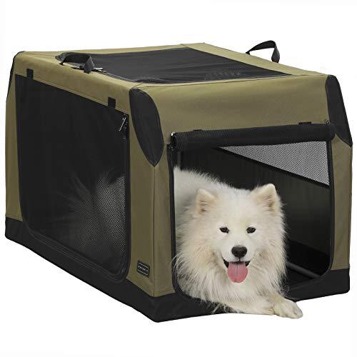 Petsfit Faltbare Hundebox Hundetransportbox Auto Transportbox Stoff für Hund & Katze mit sicherem Stahlrohrrahmen für große mittlere kleine Hunde