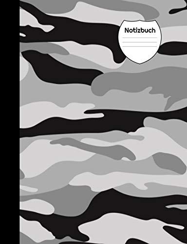 Notizbuch: Camouflage grau, Blanko Notizheft, Notizenbuch liniert