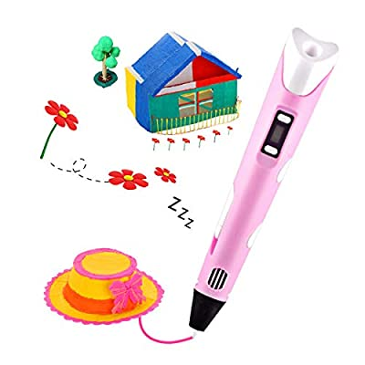 KEMOO 3D Printing Pen,3D Drawing Pen with LCD Screen,3D Doodler Pen Creative DIY Gift,Art Crafts Gift for Kids & Adults-Pink