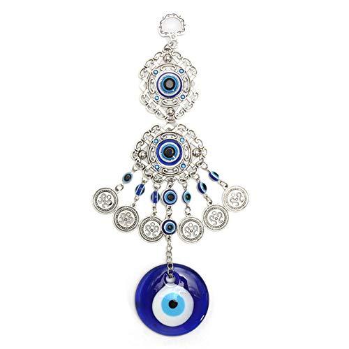 Knowing Blauer Böser Blick Wandbehang, Mode Türkischen Glasauge Wandbehang, Evil Eye Anhänger, Islamische Amulett, für Schlafzimmer Ornament Amulett Geburtstagsgeschenk Dekoration Glück Wandbehang