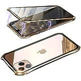 JCGOOD iPhone 11 pro ケース アルミバンパーと透明両面強化ガラス 360°全面保護 アイフォン 11 プロ カバー スマホケース マグネット式 金属ケース 耐衝撃 ワイヤレス充電対応 軽量 薄型 擦り傷防止 クリアガラスケース 携帯ケース ゴールド