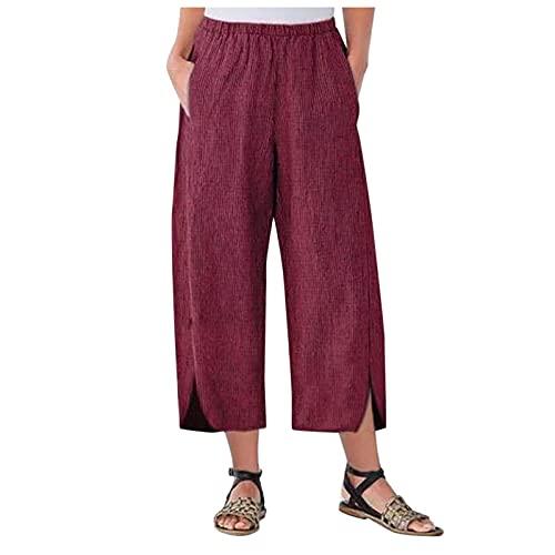 HFStorry Damen Cord Einfarbig Hose mit weitem Bein Lose Tasche Gerade Hosen mit Gabelung Übergroße Bequeme Kurze Hose