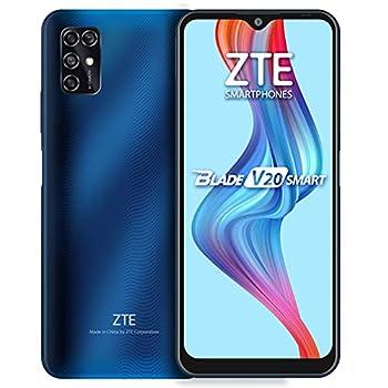 ZTE Blade V20 Smart  128GB 4GB  6.82  16MP Quad Camera 5000mAh Battery Fingerprint & Face Unlock GSM Unlocked US + Latin 4G LTE  T-Mobile AT&T  International Model 8010  Blue